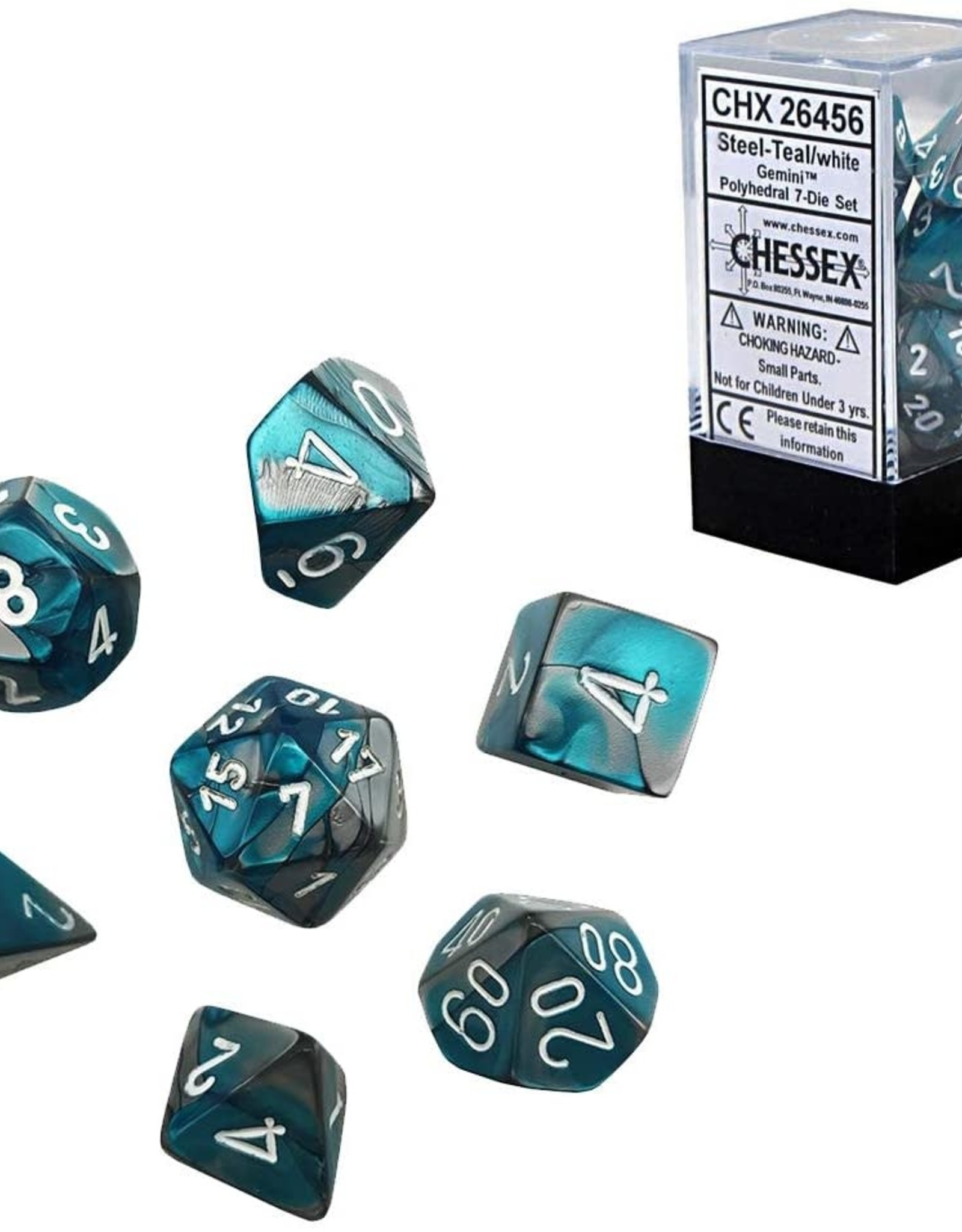 Chessex Gemini Poly 7 set:  Steel & Teal w/ White