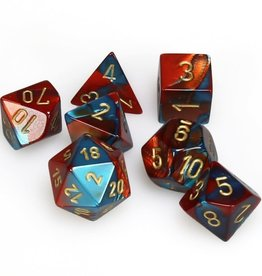 Chessex Gemini Poly 7 set: Red & Teal w/ Gold