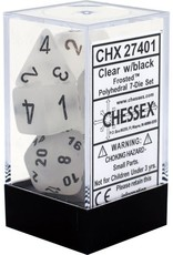 Chessex Frosted Poly 7 set: Clear w/ Black