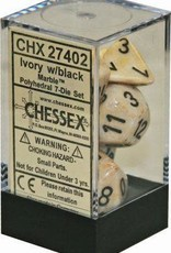 Chessex Marble Poly 7 set: Ivory w/ Black