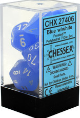 Chessex Chessex Frosted Blue w/ White Polyhedral 7 Dice Set CHX27406