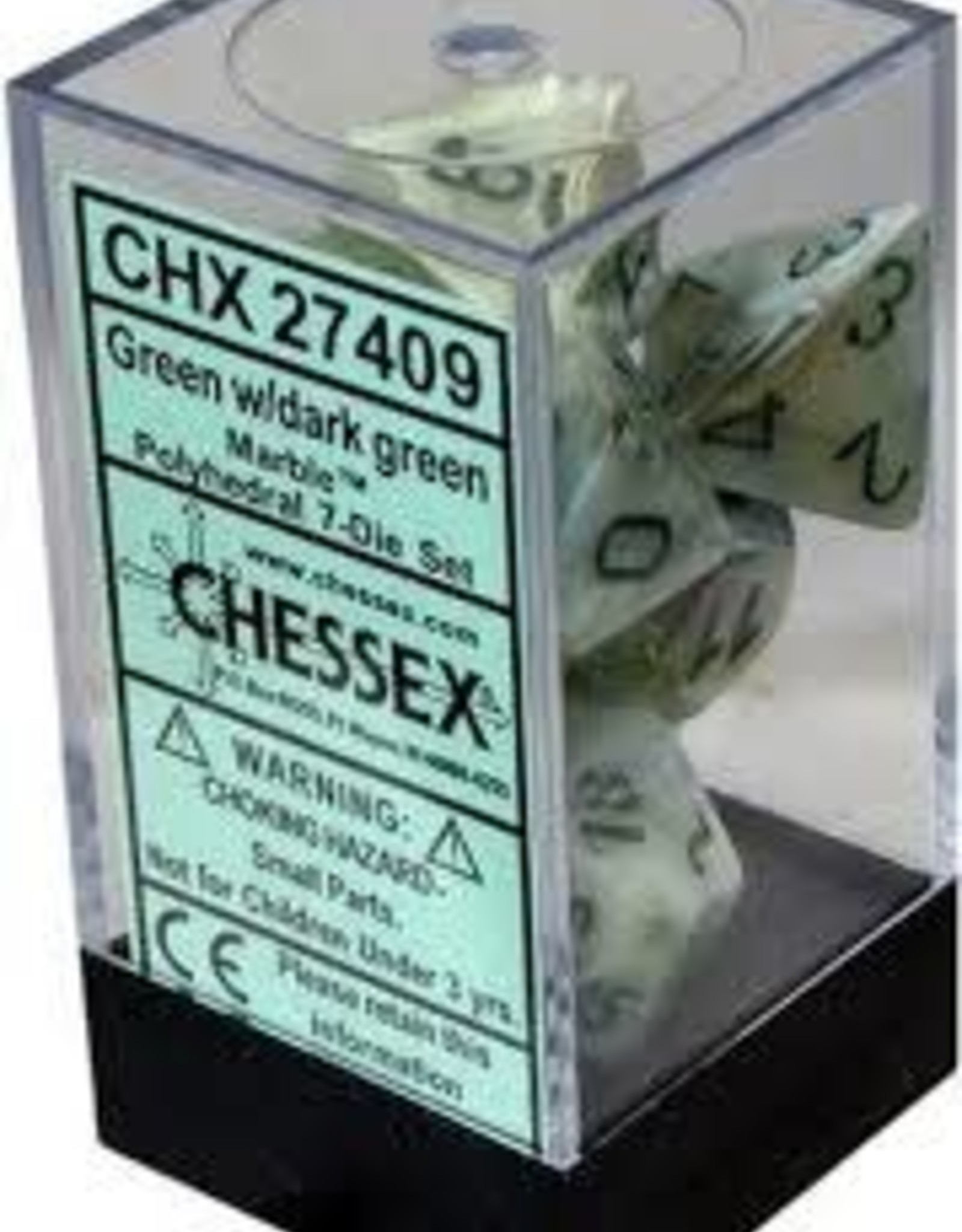 Chessex Marble Poly 7 set: Green w/ Dark Green