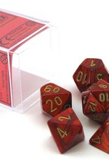 Chessex Chessex Dice: Polyhedral 7-Die Scarab Dice Set - Scarlet with Gold CHX-27414