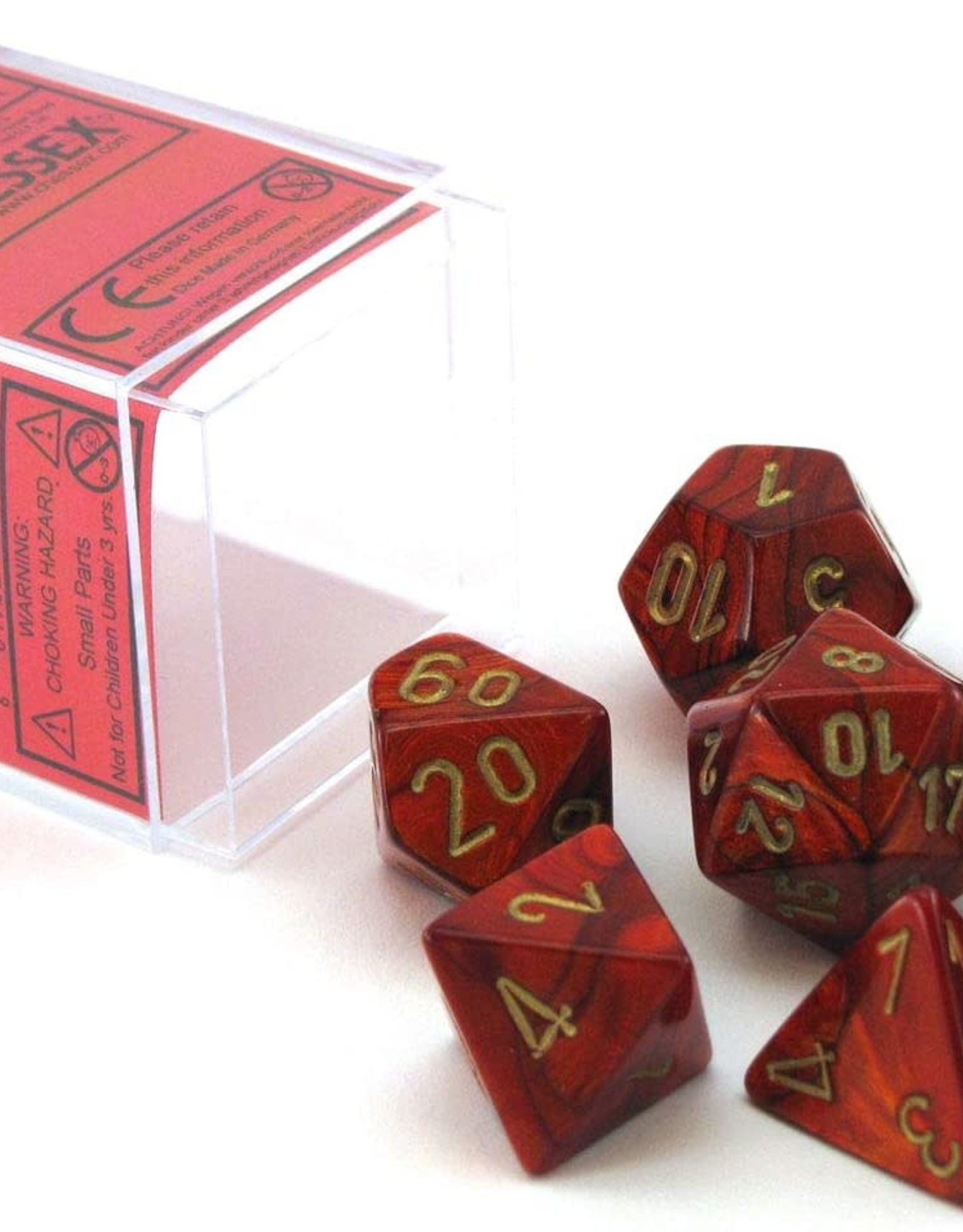 Chessex Scarab Poly 7 set: Scarlet w/ Gold