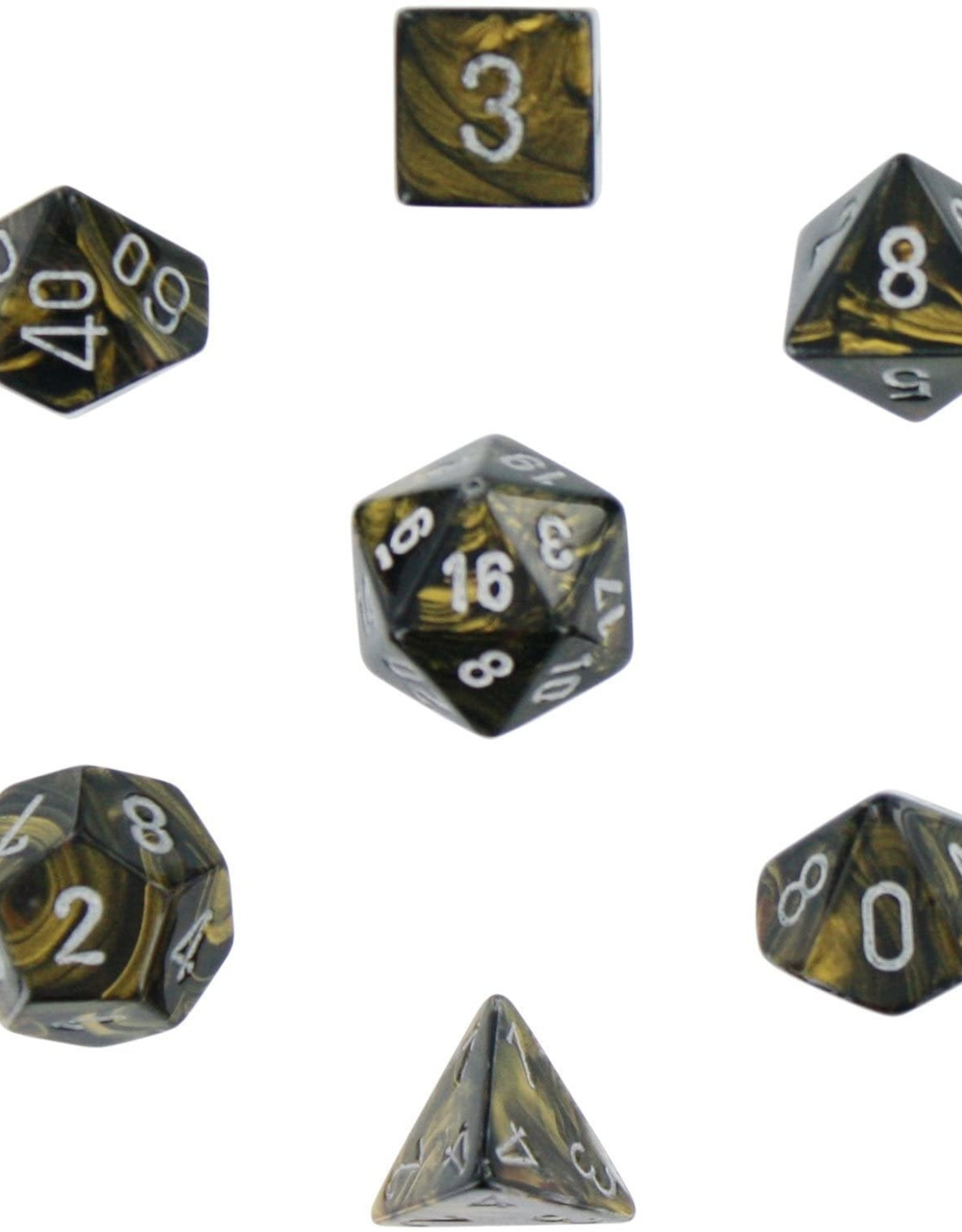 Chessex Leaf Poly 7 set: Black & Gold w/ Silver