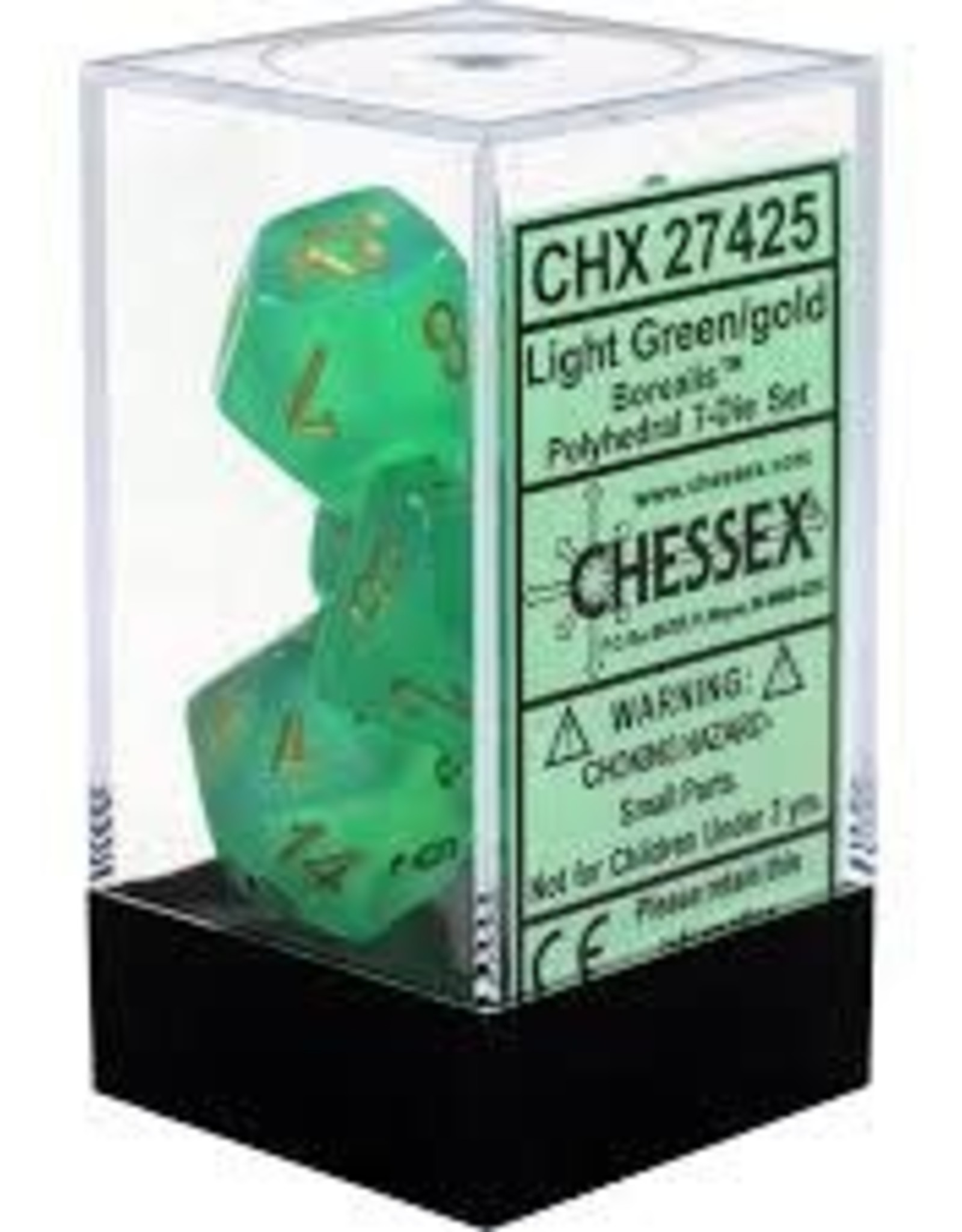 Chessex Chessex Borealis Light Green w/ Gold Polyhedral 7 Dice Set CHX27425