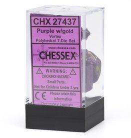 Chessex 7 Polyhedral Dice Set Cube Vortex Purple & Gold