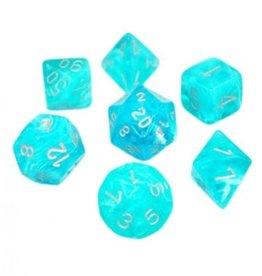 Chessex Cirrus Poly 7 set: Aqua w/ Silver