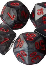 Chessex Velvet Poly 7 set: Black w/ Red
