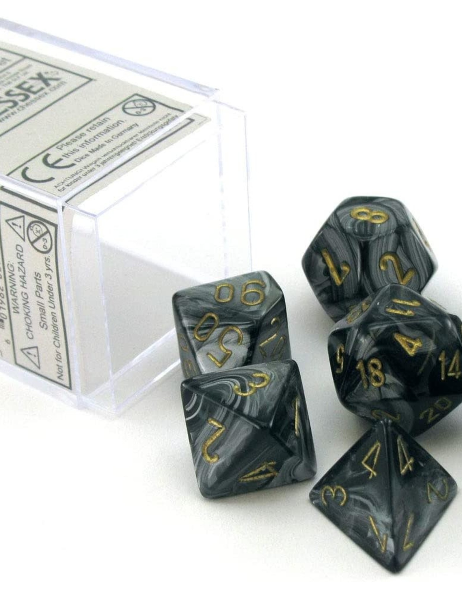 Chessex Chessex Dice: Polyhedral 7-Die Lustrous Dice Set - Black w/gold CHX-27498