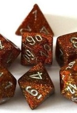 Chessex Chessex Manufacturing CHX27503 Glitter Polyhedral 7-Dice Set with Gold & Silver