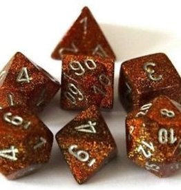 Chessex Glitter Poly 7 set: Gold w/ Silver
