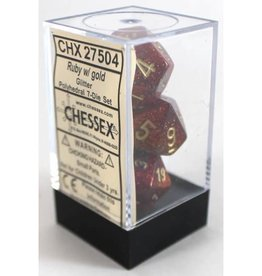 Chessex Glitter Poly 7 set: Ruby w/ Gold