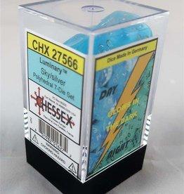Chessex Luminary Poly 7 set: Sky w/ Silver