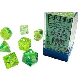 Chessex Lab Dice Luminary Nebula Poly 7 set: Spring w/ White