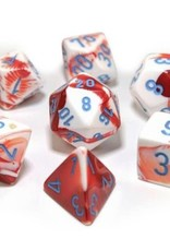Chessex Lab Dice Gemini Poly 7 set: Red & White w/ Blue