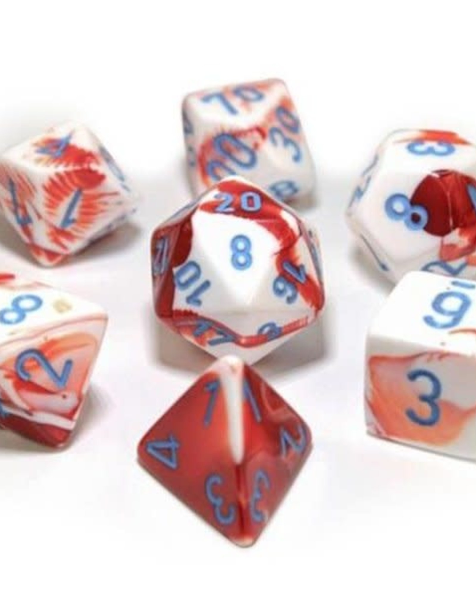 Chessex Chessex Manufacturing CHX30022 Cube Gemini Lab Dice - Red, White & Blue - Set of 7