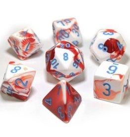 Chessex Lab Dice Gemini Poly 7 set: Red & White w/ Blue