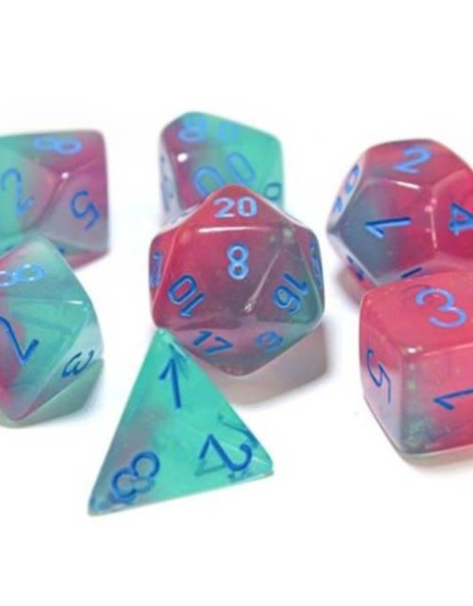 Chessex Chessex Manufacturing CHX30023 Cube Luminary Gemini Lab Dice - Green, Pink & Blue - Set of 7
