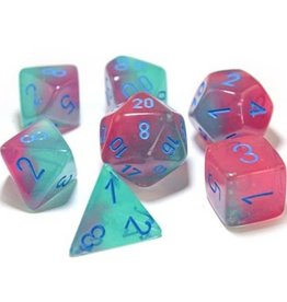 Chessex Chessex Manufacturing CHX30023 Cube Luminary Gemini Lab Dice - Green, Pink & Blue - Set of 7