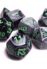 Chessex Gemini Poly 7 set:  Black & Grey w/ Green
