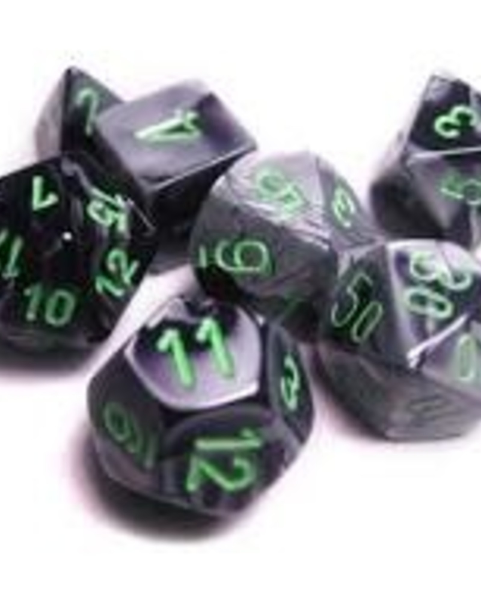 Chessex Chessex CHX26445 Dice-Gemini Set, Black/Grey/Green