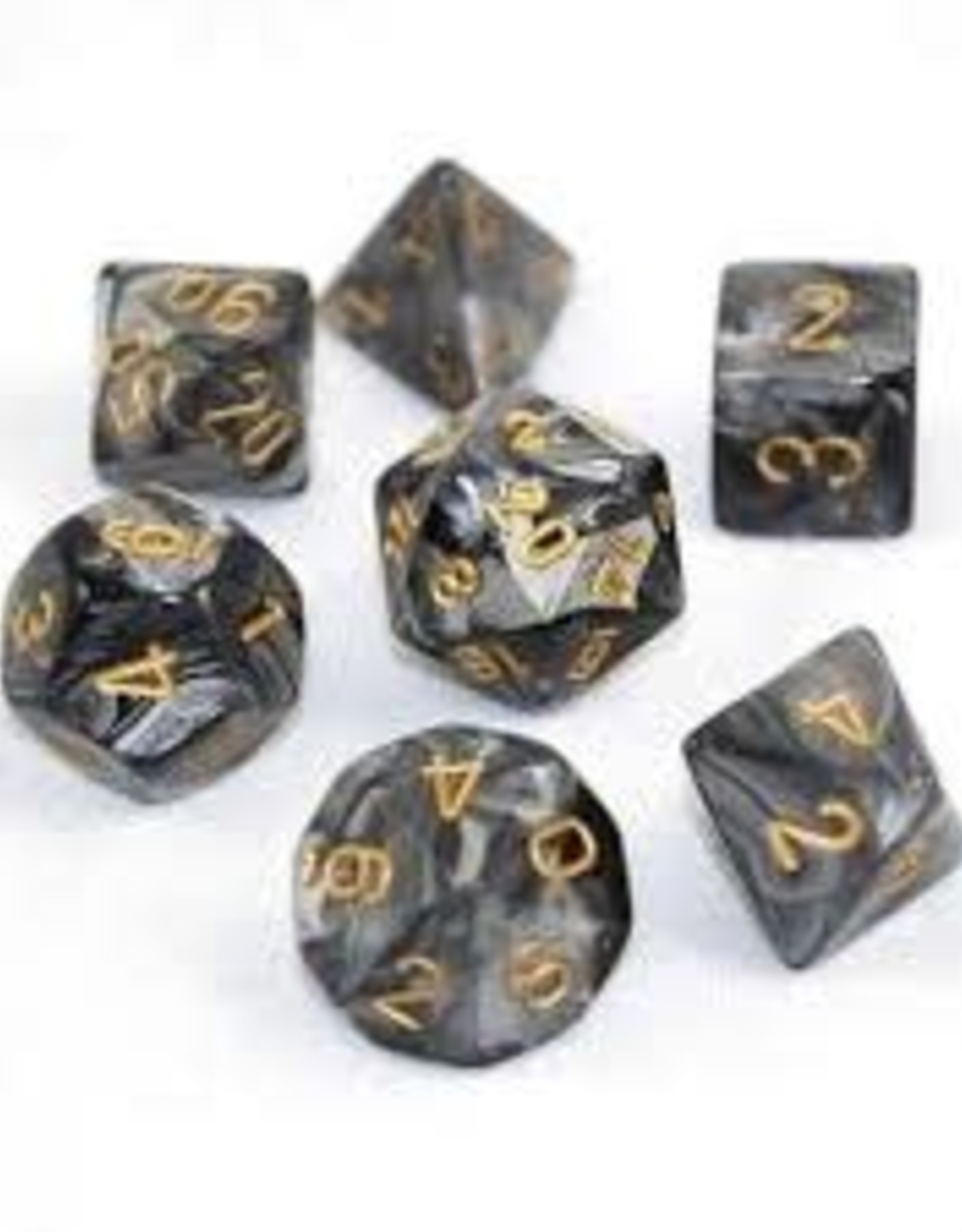 Chessex Lustrous Poly 7 set: Black w/ Gold