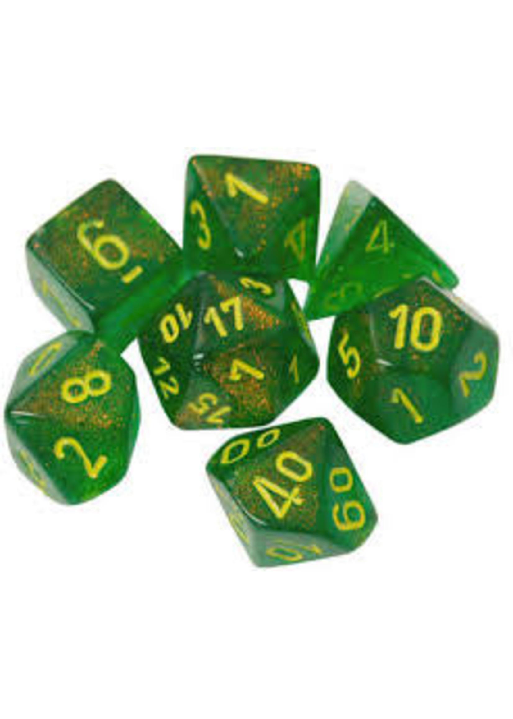 Chessex Borealis Poly 7 set: Maple Green w/ Yellow