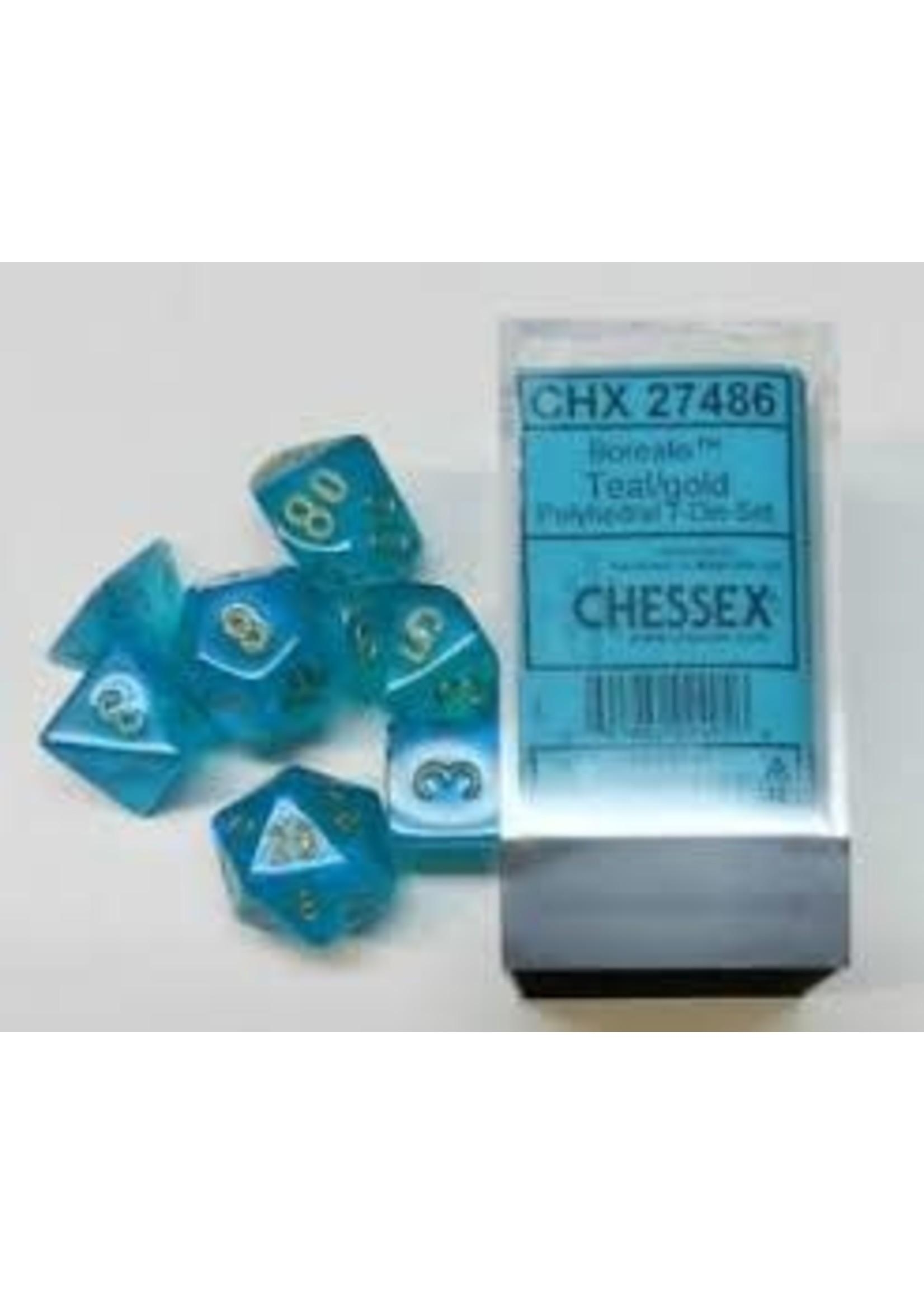 Chessex Borealis Poly 7 set: Teal w/ Gold