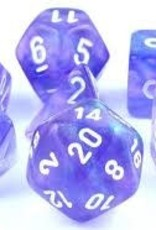 Chessex Chessex Dice: Polyhedral 7-Die Borealis Dice Set - Purple w/White