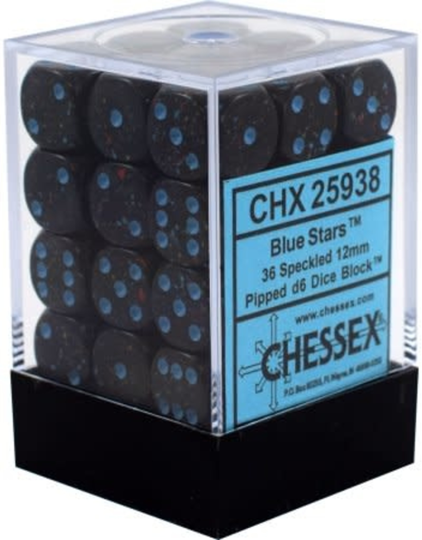 Chessex d6 Cube 12mm Speckled Blue Stars (36)