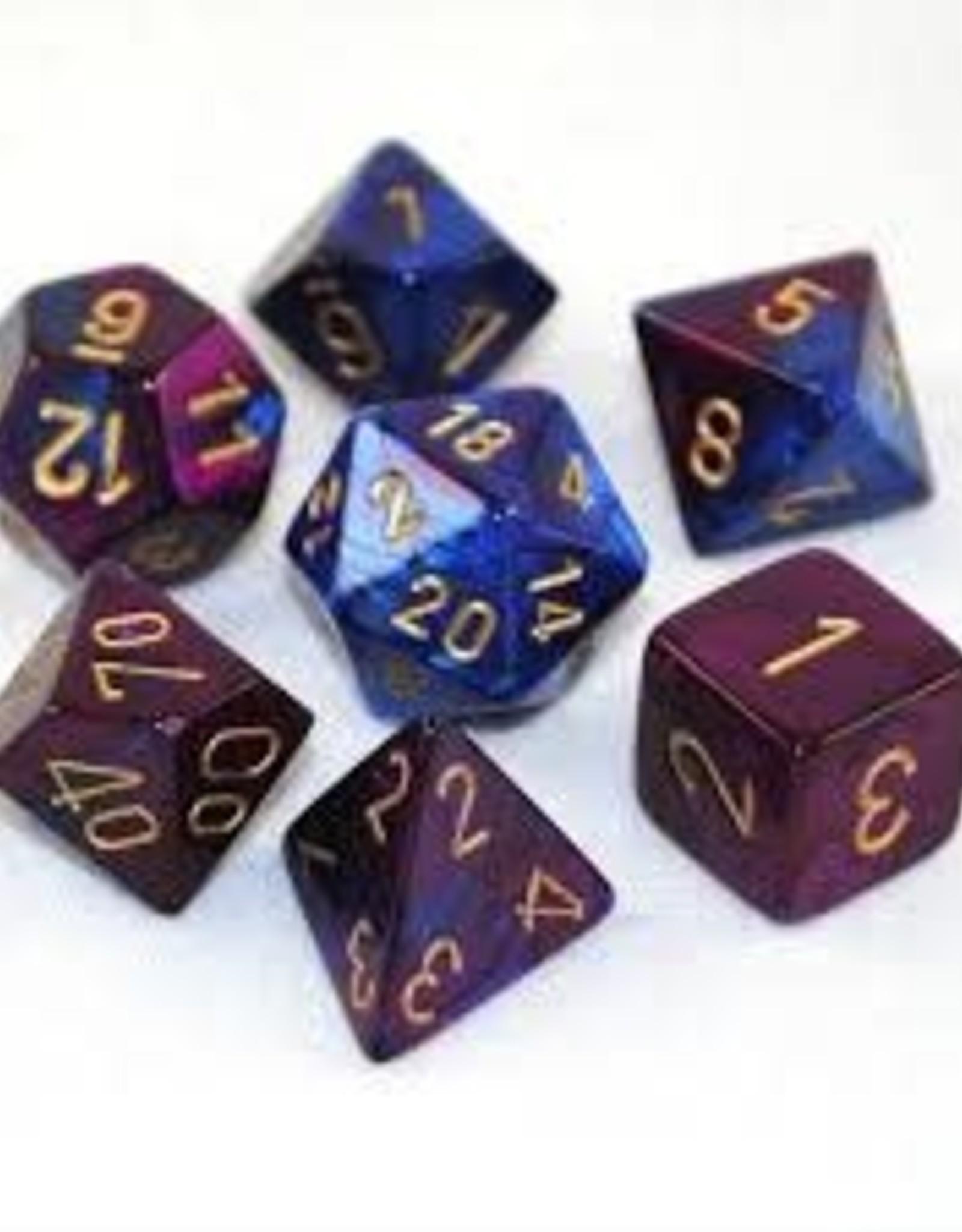 Chessex Gemini Poly 7 set: Blue & Purple w/ Gold