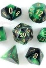 Chessex Gemini Poly 7 set: Black & Green w/ Gold
