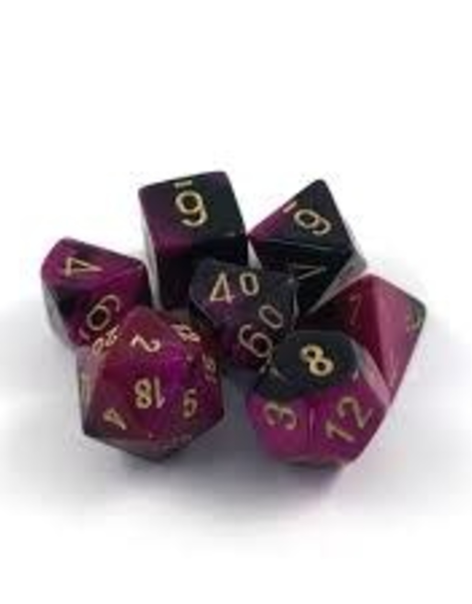 Chessex Gemini Set Of 7 Dice - Black & Purple With Gold Numbering