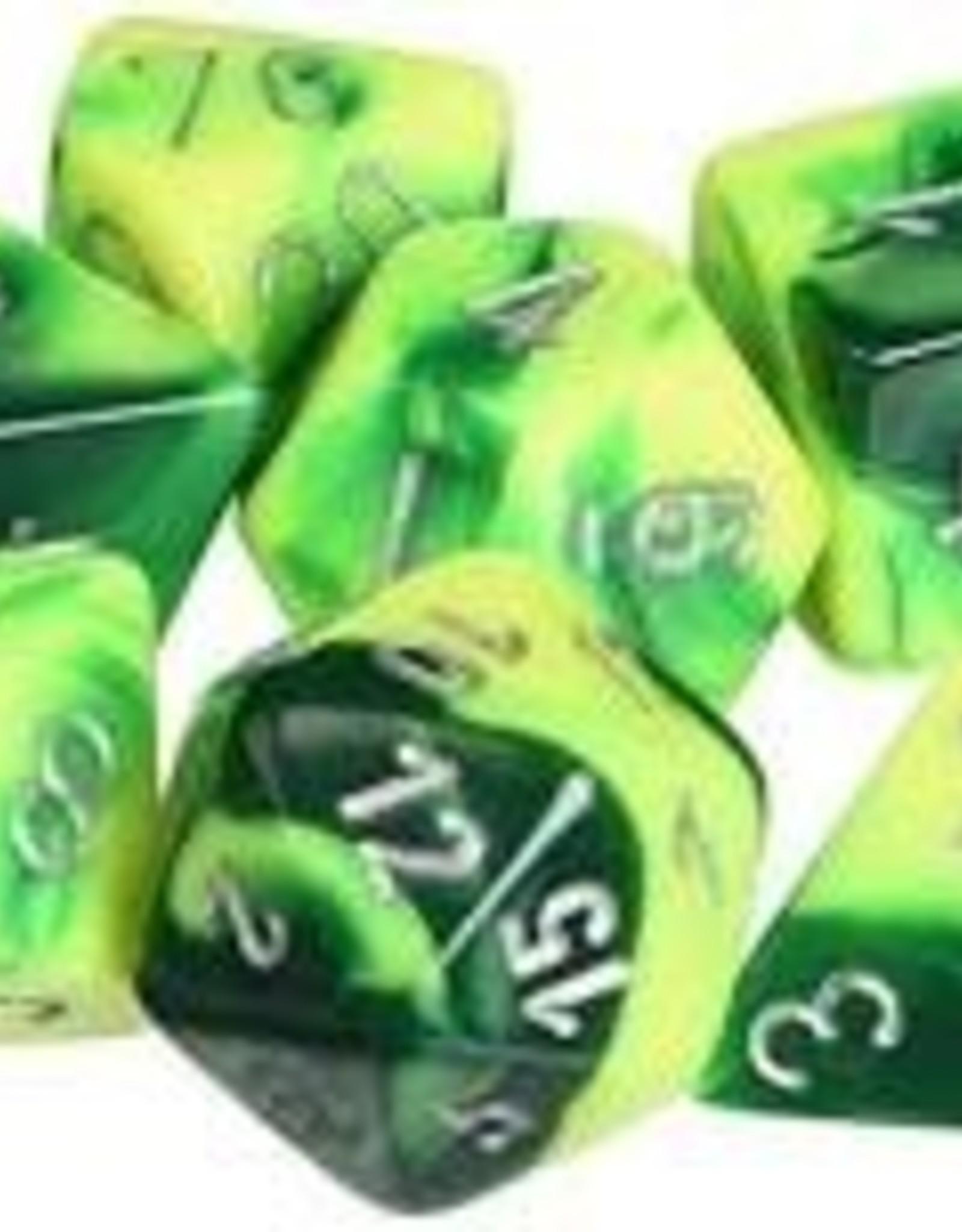 Chessex Gemini Poly 7 set: Green & Yellow w/ Silver