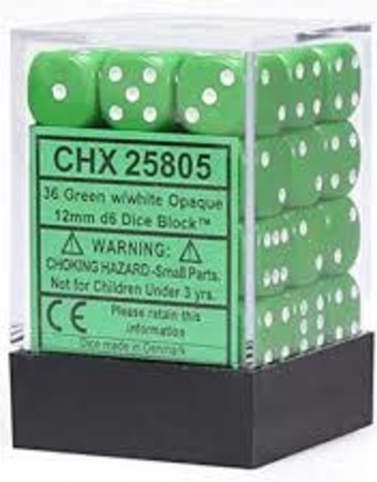 Chessex Opaque: 12mm D6 Green With White (36)