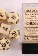 Chessex Chessex CHX25400 Dice-Opaque Ivory/Black Set