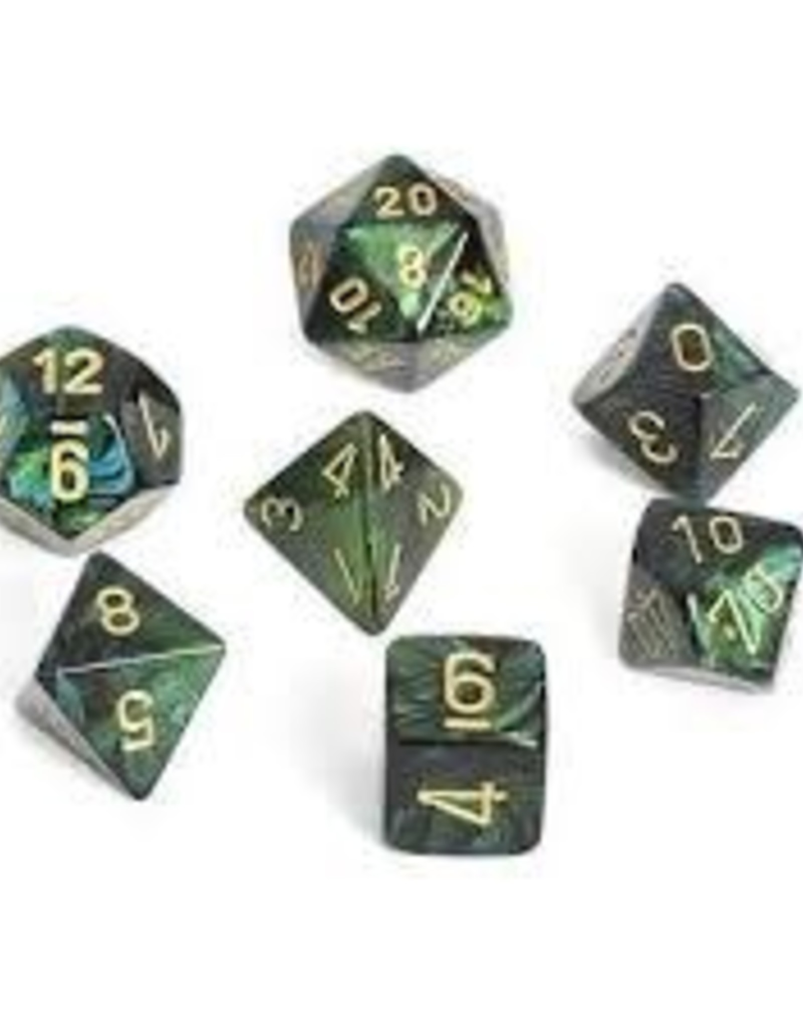 Chessex Scarab Poly 7 set: Jade w/ Gold