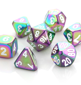 Die Hard Dice Metal Dice 7 set Forge Scorched Rainbow w/ White