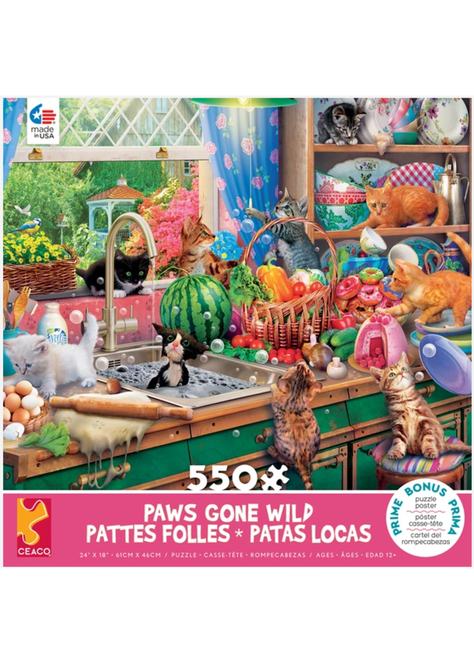 CEACO 550 pc puzzle - Paws Gone Wild - Kitchen Capers