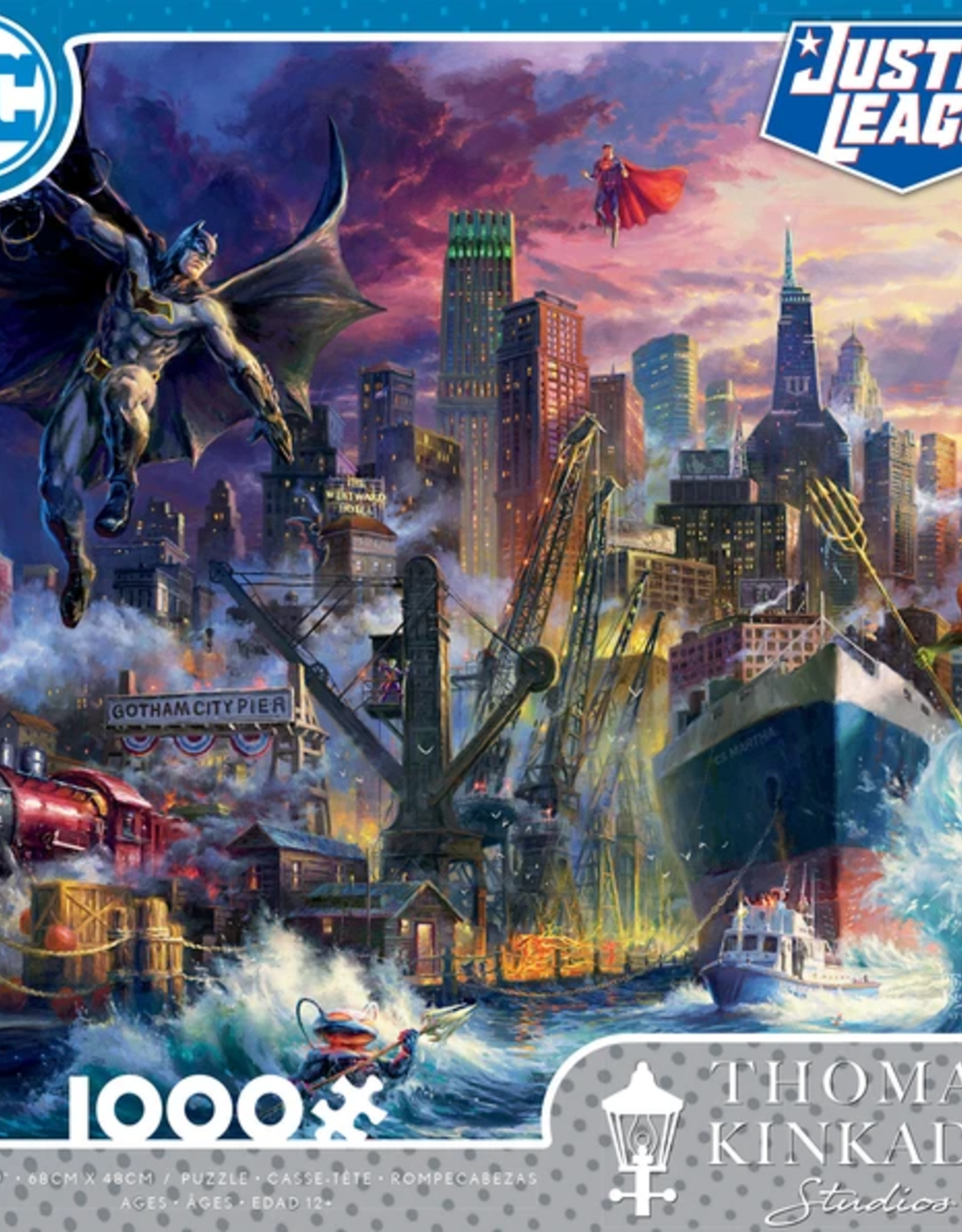 CEACO 1000pc puzzle - DC Comics Thomas Kinkade - Showdown at Gotham Pier