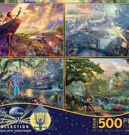 CEACO 4x 500 pc puzzle - Thomas Kinkade Disney [Lion King, Peter Pan, Jungle Book, Princess and the Frog]