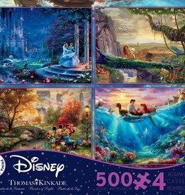 CEACO 4x 500 pc puzzles - Thomas Kinkade Disney [Cinderella, Lion King, Little Mermaid, Mickey and Minnie]