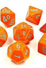 Chessex Lab Dice Heavy Poly 7 set: Orange w/ Turquoise
