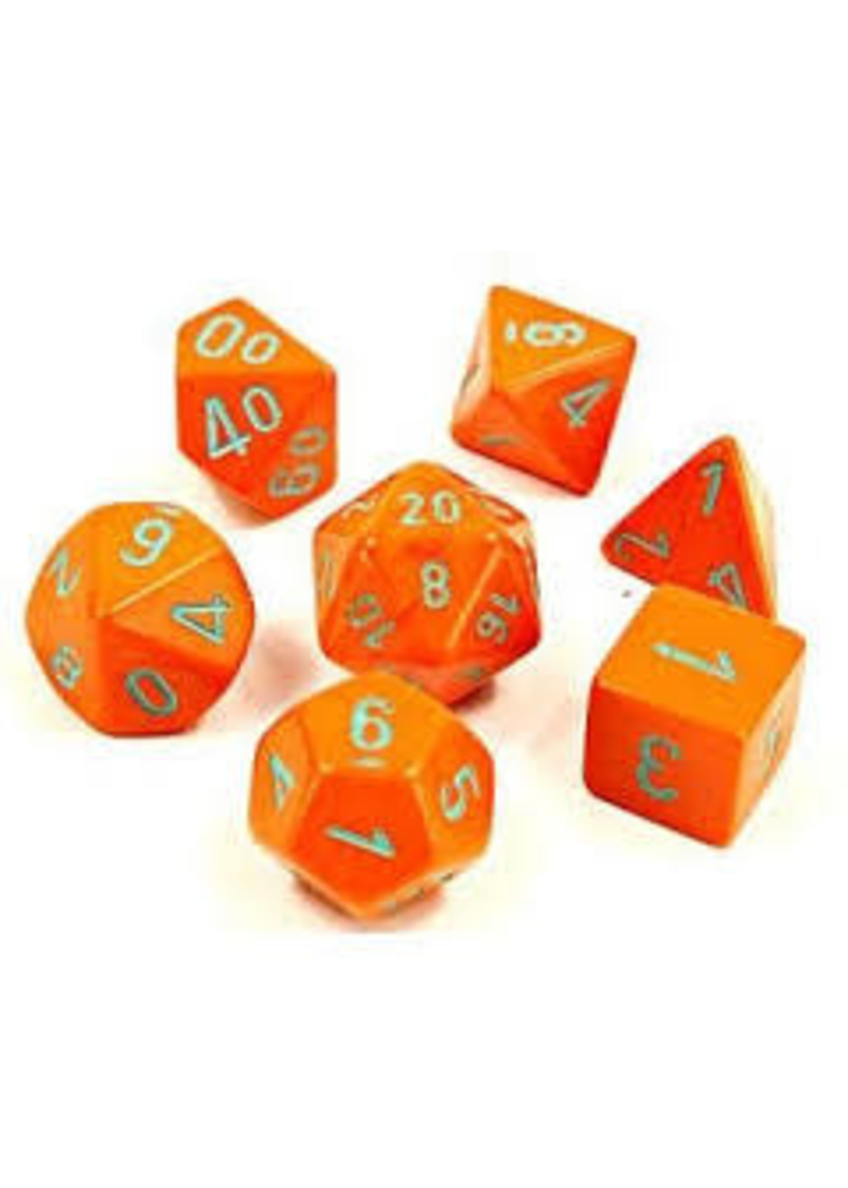 Chessex Lab Dice Heavy Poly 7 set: Orange w/ Turquoise