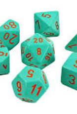 Chessex Lab Dice Heavy Poly 7 set: Turquoise w/ Orange