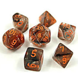 Chessex Lab Dice Luminary Nebula Poly 7 set: Matrix Copper w/ Orange