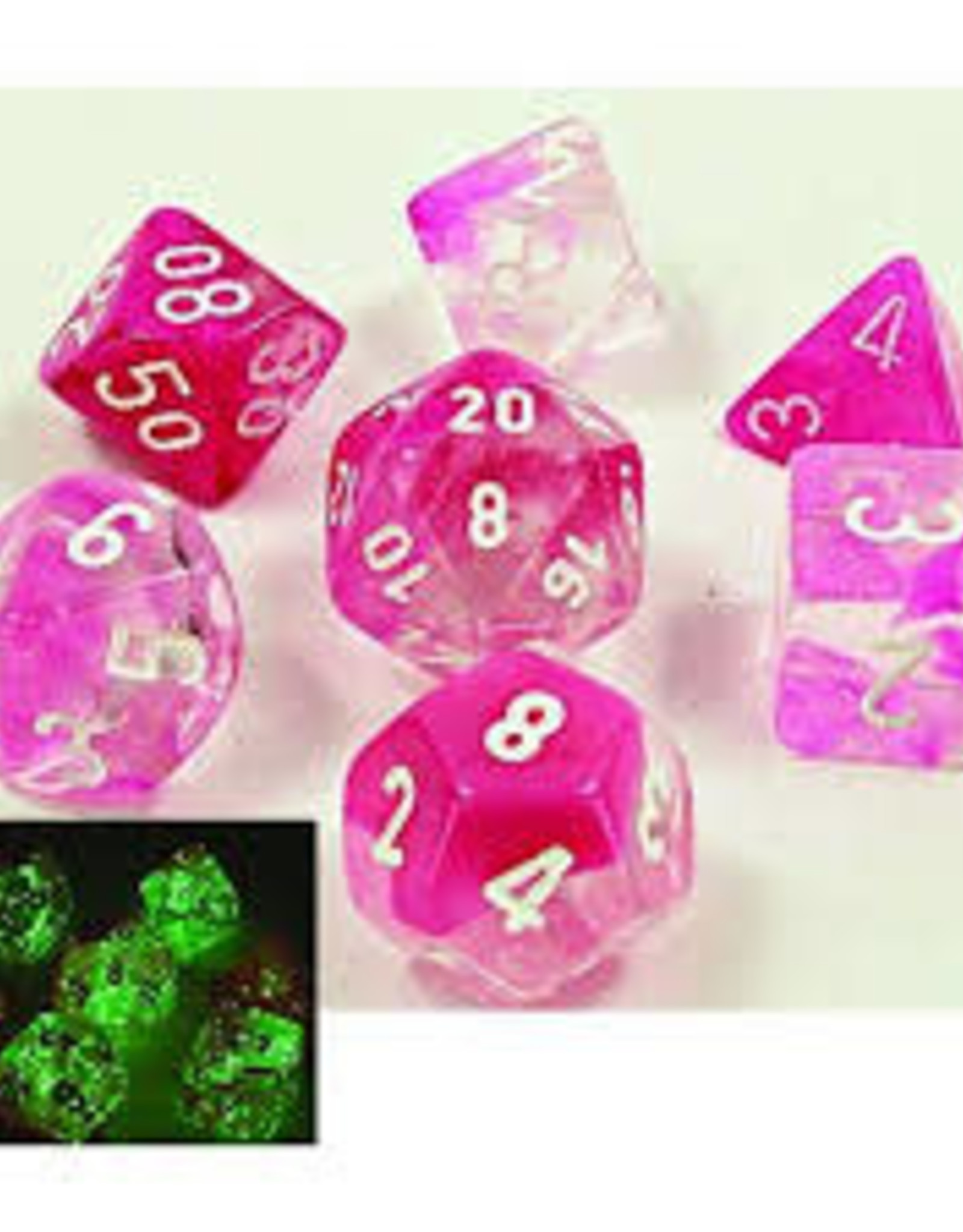Chessex Lab Dice Luminary Gemini Poly 7 set: Pink w/ White