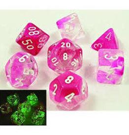 Chessex Lab Dice Luminary Gemini Poly 7 set: Pink w/ White