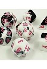 Chessex Lab Dice Gemini Poly 7 set:  Black & White w/ Pink